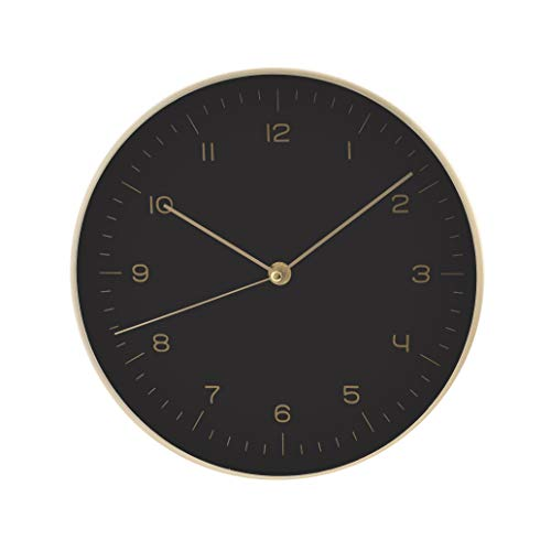 LUUK LIFESTYLE hochwertige, Schlichte Nordic Design Minimal Quarz Wanduhr mit Sekundenzeiger, Küchenuhr, Wohnzimmer Uhr, Büro Wanduhr, Flur, schwarz
