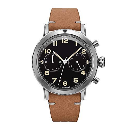 Undone Urban Type XX Pilot Hybrid Chronograph Quarz Mechanische Edelstahl Schwarz Leder Vintage Herren Uhr