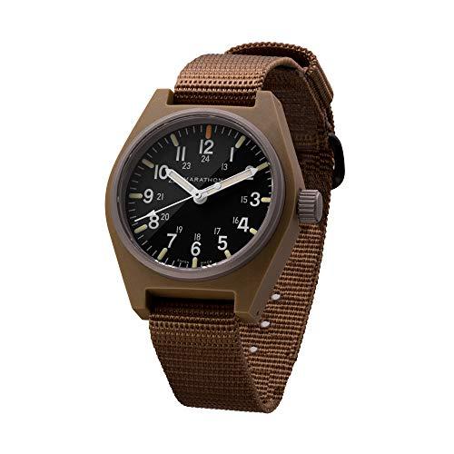 Marathon Armbanduhr WW194009-DT-NGM Allzweck-Quarzwerk, Swiss Made Military Field Army Watch (GPQ) mit MaraGlo und Saphirglas (34 mm, Desert Tan, keine Regierungsmarkierungen)