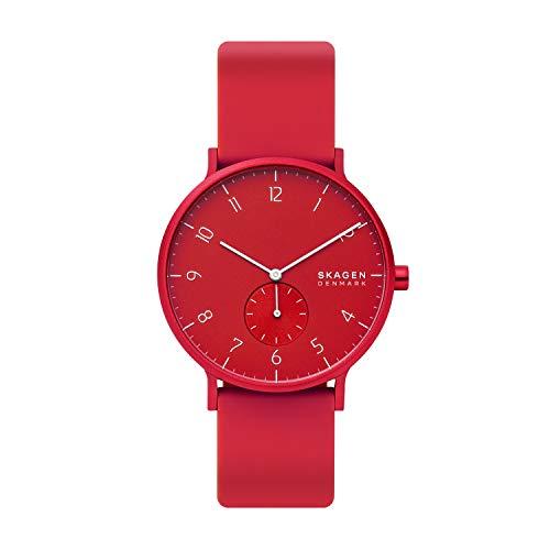 Skagen Unisex Erwachsene Analog Quarz Uhr mit Silikon Armband SKW6512