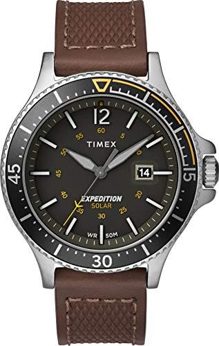 Timex Herren Analog Solar Uhr mit Leder Armband TW4B15100