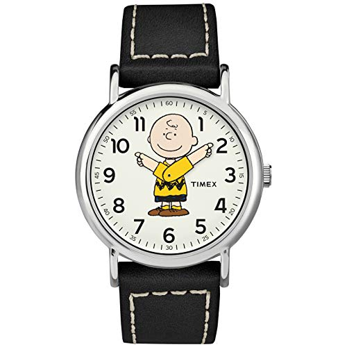 Timex Unisex TW2T60900 Weekender 38mm Peanuts Charlie Brown Leather Quick-Release Strap Watch