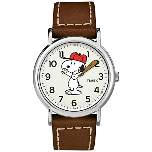 Timex Unisex TW2T61000 Weekender 38mm Peanuts Snoopy Leather Quick-Release Strap Watch