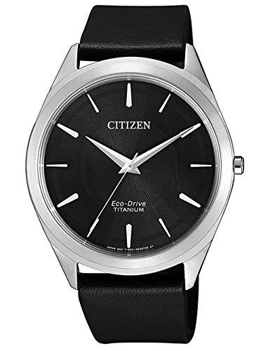 CITIZEN Herren Analog Eco-Drive Uhr mit Leder Armband Schwarz BJ6520-15E