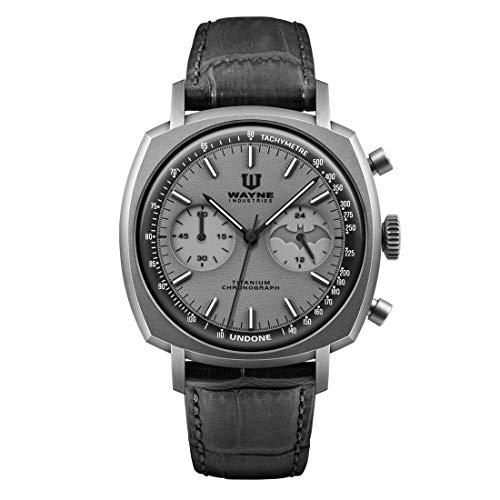 Undone Batman Dark Knight Chronograph Mechanische Hybrid Quarz Titan Grau Leder Herren Uhr