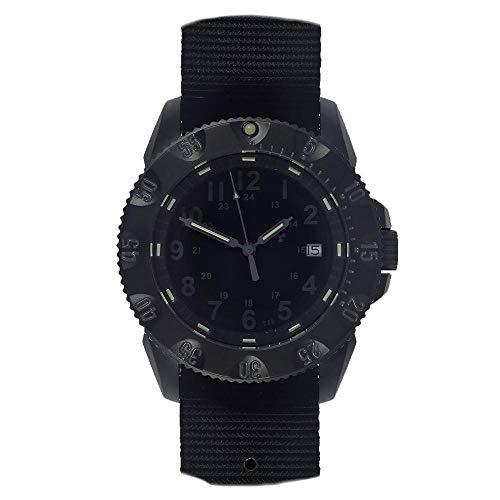 MWC Automatische Militär-Armbanduhr aus Stahl, schwarz, Saphir, Datumsanzeige, Nato, Herren, Tactical