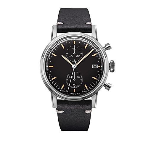Undone Urban Speedy Chronograph Hybrid Quarz Mechanisch Edelstahl Leder Schwarz Datum Vintage Herren Uhr