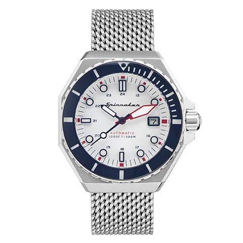 Spinnaker Herren-Armbanduhr, automatisch, Dumas, 44 mm, weißes Zifferblatt, Armband aus Stahl, silberfarben, SP-5081-33