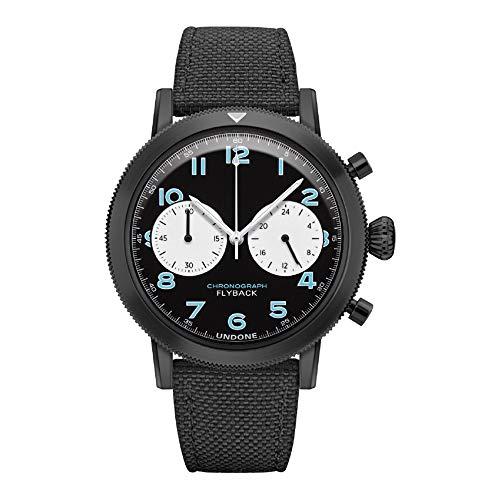 Undone Urban Type XX Pilot Hybrid Chronograph Quarz Mechanische Edelstahl PVD Schwarz Blau Stoff Herren Uhr