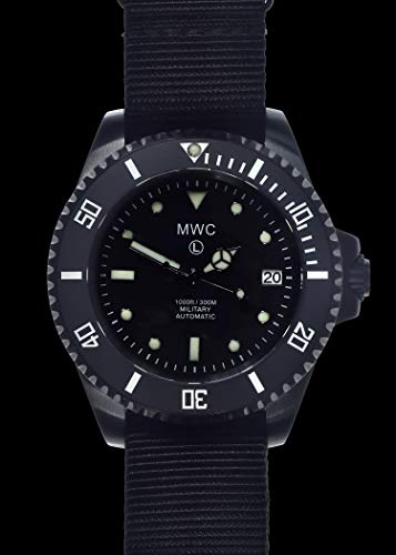 MWC 24 Jewels Automatik 300m Edelstahl PVD Schwarz Submariner NATO Militär Herrenuhr
