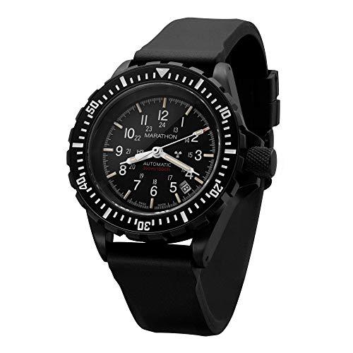 Marathon Armbanduhr WW194006BK-NGM GSAR Swiss Made Military Issue Taucheruhr Automatikuhr (41 mm, Anthrazitschwarz, keine Regierungsmarkierungen)
