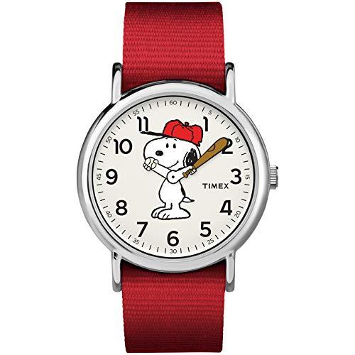 Timex Unisex TW2R41400 Weekender 38mm Peanuts Snoopy Nylon Slip-Thru Strap Watch