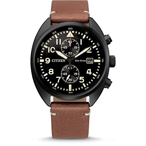 CITIZEN Herren Analog Eco-Drive Uhr mit Leder Armband CA7045-14E