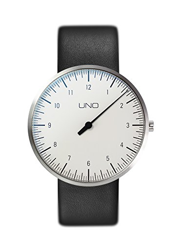 BOTTA Einzeigeruhr Herren Schweizer Quarzwerk mit Lederarmband UNO (40 mm, Weiß)