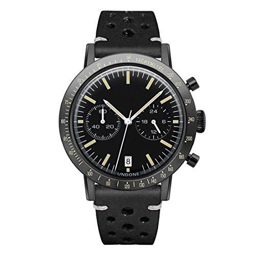 Undone Sport Speedy Chronograph Hybrid Quarz Mechanisch Stahl Schwarz Leder Vintage Uhr Herren