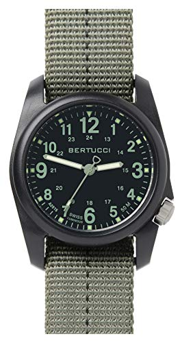 Bertucci DX3 Field Harz Uhr, Dash-Striped Drab Nylon Strap, schwarz Zifferblatt – 11040