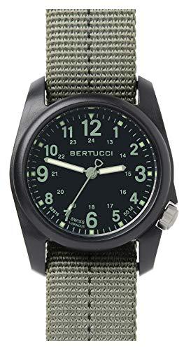 Bertucci DX3Field Harz Uhr, Dash-Striped Drab Nylon Strap, schwarz Zifferblatt–11040