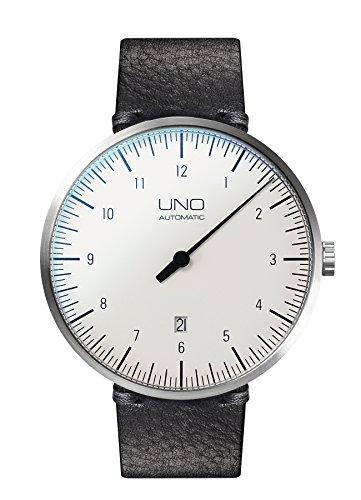 Botta-Design UNO+ Automatik Armbanduhr - Einzeigeruhr, Edelstahl, Lederband (44 mm, Alpin)
