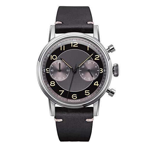 Undone Tuxedo Chronograph Hybrid Quarz Mechanisch Stahl Grau Schwarz Leder Vintage Uhr Herren