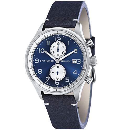 SPINNAKER Herren-Armbanduhr 44mm Armband Leder Blau Batterie Analog SP-5050-02