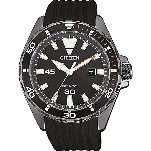 CITIZEN Herren Analog Eco-Drive Uhr mit Kautschuk Armband BM7455-11E