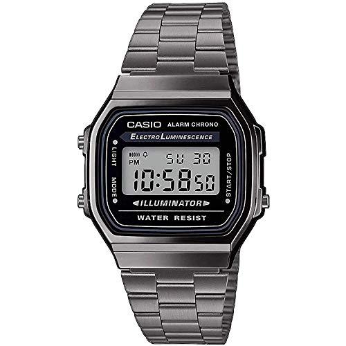 Casio Herren Digital Japanischer Quarz Uhr mit Edelstahl Armband A168WEGG-1AEF