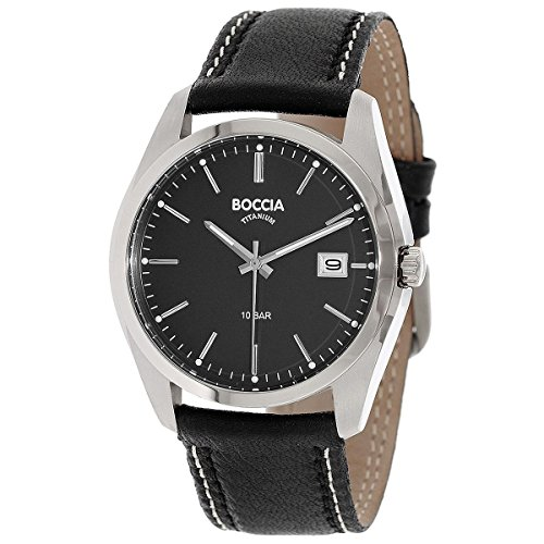 Boccia Herren Digital Quarz Uhr mit Leder Armband 3608-02