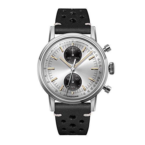 Undone Urban Silver Chronograph Hybrid Quarz Mechanisch Edelstahl Silber Leder Schwarz Vintage Herren Uhr