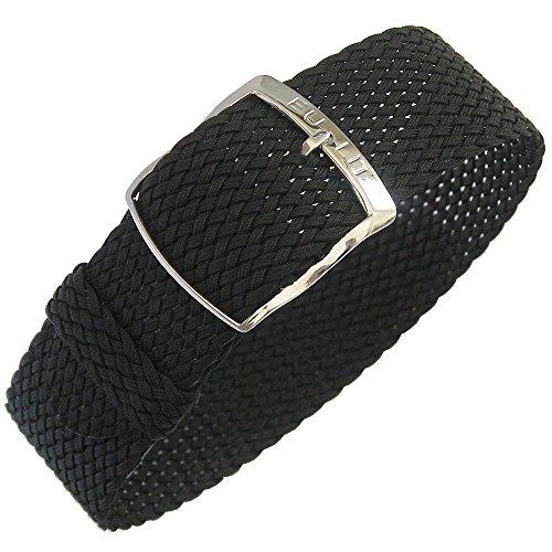Eulit Panama Uhrenarmband Perlon, 20 mm, Schwarz
