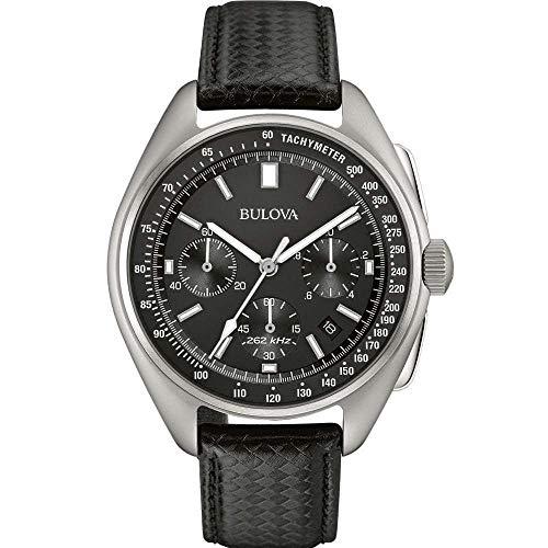 Bulova Lunar Pilot Watch 96B251 - Herren Designer-Armbanduhr Mond-pilot - Armband aus Leder - Schwarz