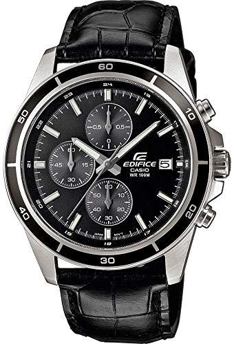 Casio Edifice Herren Massives Edelstahlgehäuse und Lederarmband Uhrenarmband EFR-526L-1AVUEF