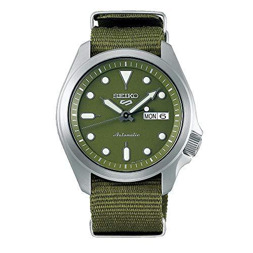 Seiko 5 Sports Herren-Armbanduhr SRPE65K1, grünes Zifferblatt, Nylonband