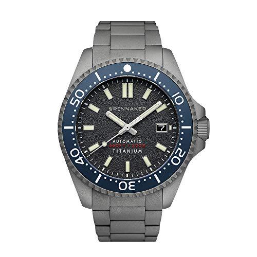 Spinnaker Tesei Herren-Armbanduhr aus Titan mit 3 Zeigern, automatisch, graues Zifferblatt und solides Titan-Armband – SP-5084-44
