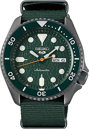 Seiko 5 Sports Herren-Uhr analog Automatik mit Textilarmband SRPD77K1