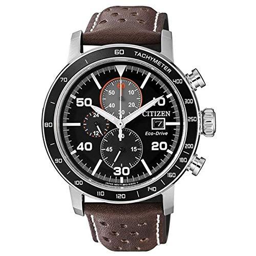 CITIZEN Herren Chronograph Quarz Uhr mit Leder Armband CA0641-24E