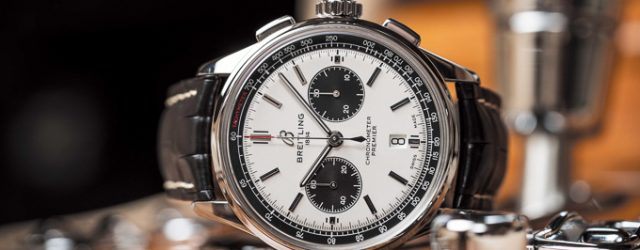 Breitling Premier B01 Chronograph 42 with silver dial and black alligator leather strap (PPR/Breitling)