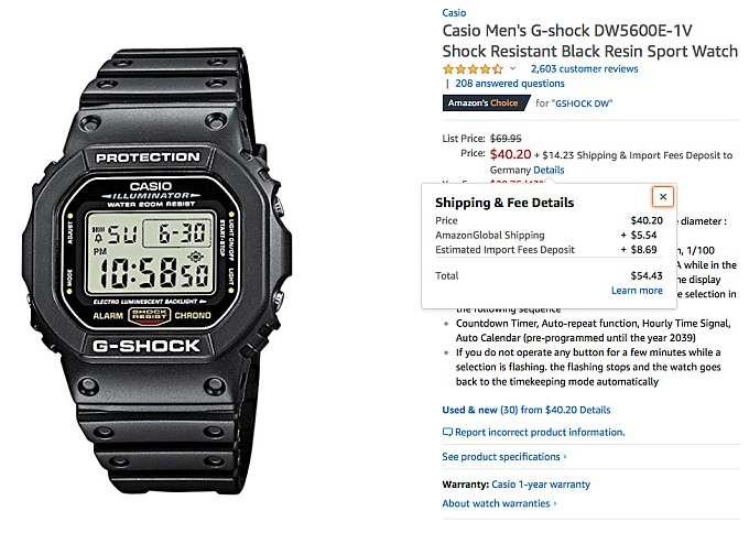 CASIO G-Shock DW 5600 amazon.com