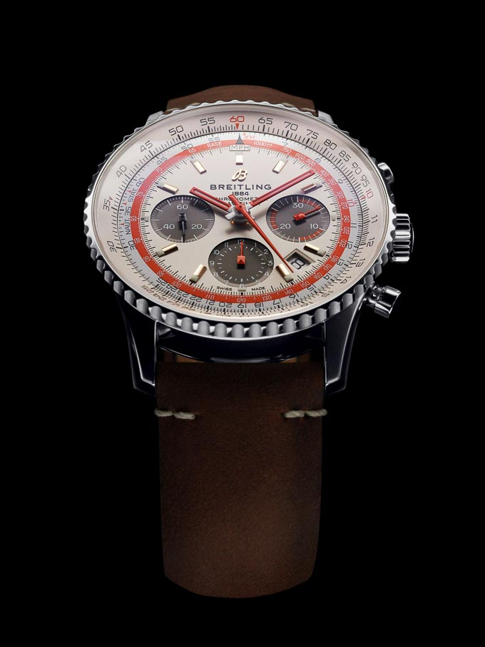 Breitling Navitimer 1 B01 Chronograph 43 TWA Edition with silver dial and a vintage-inspired brown leather strap (PPR/Breitling)