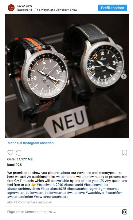 Laco Fliegeruhren GMT Baselworld 2019