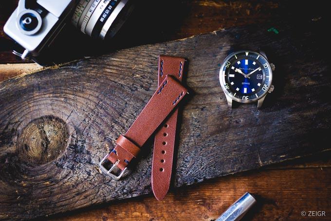 ZEIGR Uhrenarmband 20mm Leder Vintage Braun
