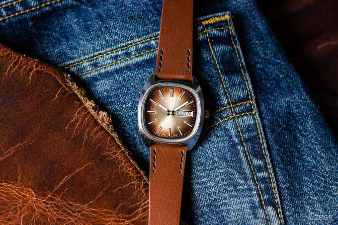 ZEIGR Uhrenarmband 20mm Leder Vintage Braun Jeans-1