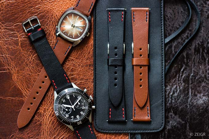 ZEIGR Uhrenarmband 20mm Leder Vintage Gruppe