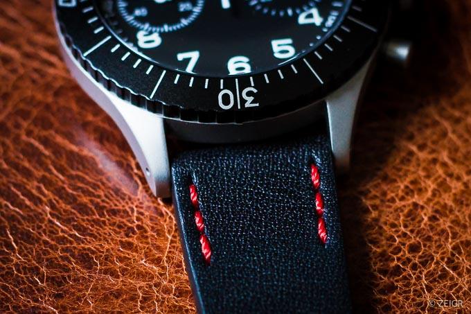 ZEIGR Uhrenarmband 20mm Leder Vintage Schwarz Naht-1