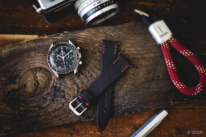 ZEIGR Uhrenarmband 20mm Leder Vintage Schwarz Speedmaster