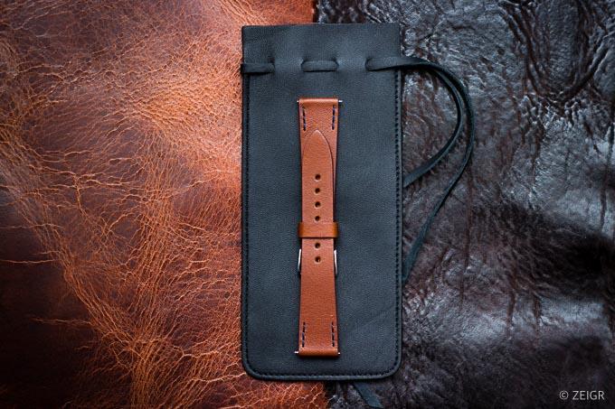 ZEIGR Uhrenarmband Leder Vintage 20mm Braun mit Uhrenbeutel -1