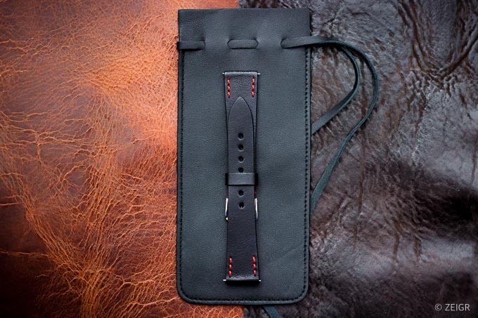 ZEIGR Uhrenarmband Leder Vintage 20mm Schwarz mit Uhrenbeutel -2