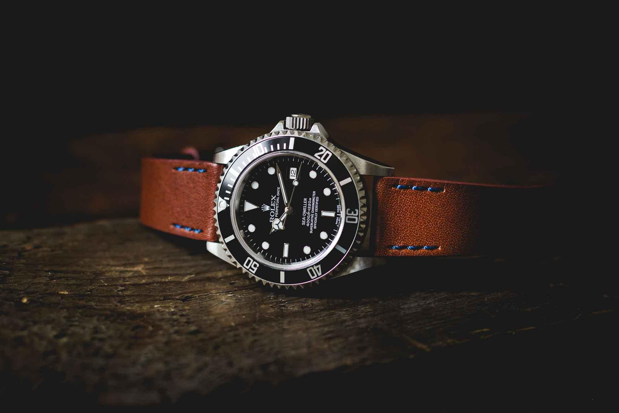 ZEIGR Uhrenarmband Leder 20mm Rolex Sea-Dweller 16600