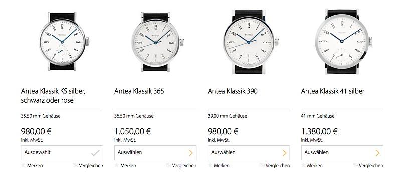 Bauhaus-Uhren: Stowa Antea Klassik versch. Varianten & Preise
