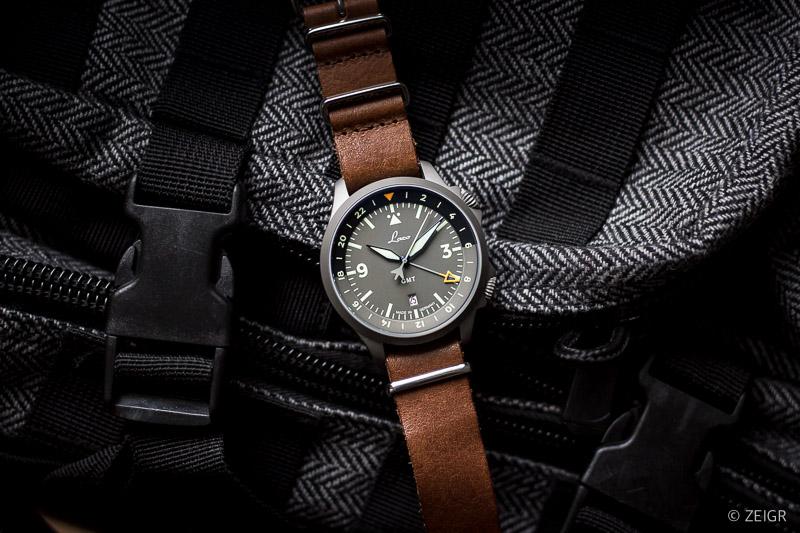 Piloten-Uhr - braunes Nato-Lederband