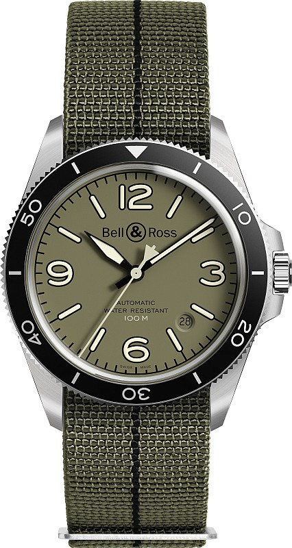 Bell & Ross BRV2-92-Military-Green-Canvas-strap